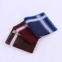 New Men's 100% Cotton Handkerchiefs Striped Hanky Pocket Square Business 43*43CM