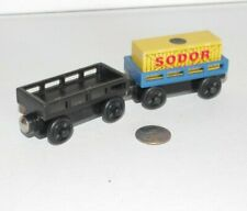 Thomas & Friends Wooden Railway Train Tank Black Blue Car Lot x2 w Yellow Cargo