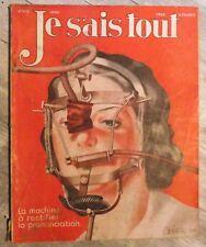 Magazine JE SAIS TOUT sciences populaire antique french mag 1934