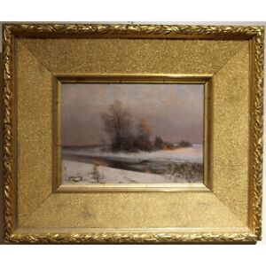 Antique 19th Germany Original Winter Landscape Oil canvas Painting signed C.HAAS