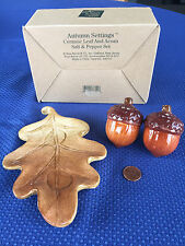 RUSS ACORNS & OAK LEAF CERAMIC SALT AND PEPPER SHAKERS