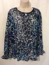 Fashion Bug Blouse Top XL Blue Print Sheer New 170918