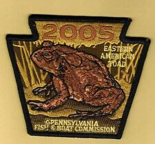 PA Pennsylvania Fish Commission NEW 2005 Eastern American Toad embroidered patch