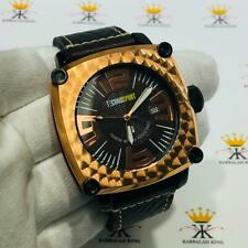 TechnoSport Rose Gold Stainless Steel Large Dial Genuine Black Leather Watch