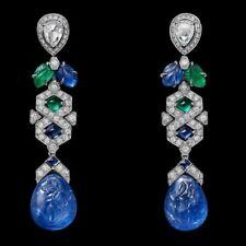 Sapphire Pear Drop 925 Sterling Silver Tutti Frutti Womens Dangle Fine Earrings
