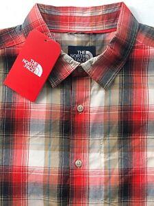 The North Face Hammetts Medium M Short Sleeve Button Down Shirt Black Ash Plaid