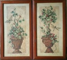 Set of 2-Home Interior Pictures Ivy Topiary & Dragonfly Wood Frame Barbara Mock