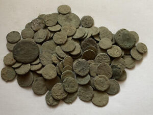 125 Uncleaned Roman Bronze Coin lot ( Contains Silver)