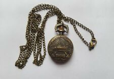MINI Bronze STEAM SHIP Watch  Necklace Pendent Retro + Free Velvet Pouch
