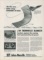 1951 Johns Manville Aviation Ad Convair XF-92A Delta Wing Jet Fighter F-92