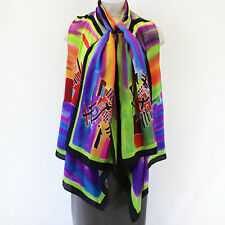NEW Dilemma Plus Kandinsky Inspired 100% Silk Vest & Scarf Set OS fits XL 1X 2X
