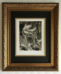 MARC CHAGALL AWESOME 1963 BEAUTIFUL SIGNED PRINT MATTED 11 X 14