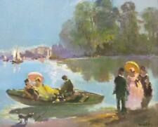 Vintage Original Oil Painting French Impressionist Art Landscape People P Willef