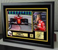 """Sebastian Vettel F1 Ferrari 2017 Hungary GP Framed Canvas Print Signed """"Gift"""""""