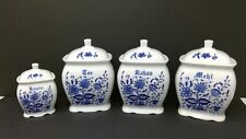 4 Piece Blue Danube Canister Set - Unmarked