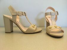 "Women high heels 4"" sandals, cream real leather, size 38 UK 5."
