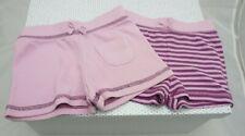 Petit Kimbaloo lot de deux shorts coton mauve uni et rayé bébé 6 mois