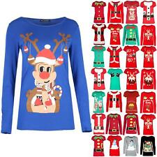 Womens Short Sleeve Xmas Reindeer Stretchy T Shirt Christmas Tree Bells Mini Top