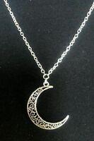 "A Filigree Crescent Moon Tibetan Silver Charm  Pendant, Long 30"" Chain Necklace"