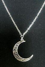 """Una Filigrana Crescent Moon Tibetan silver charm pendente, lunga collana con catena 30"""""""