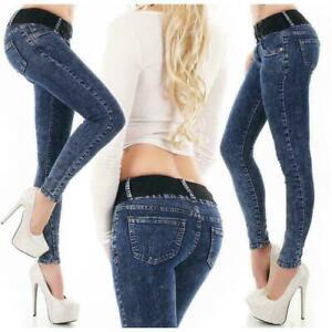 Women's mid waist Skinny Jeans stretch cotton Trousers Acid Wash Blue UK 4-12
