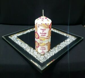 Beautiful Square Mirrored Crystal Candle Plate 25cm
