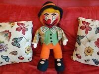 Rarissimo Pagliaccio Clown Pupazzo Vintage anni 70 Alto 52cm da collezione