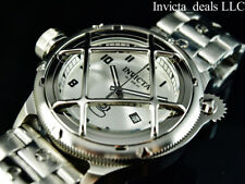 Invicta Mens 52mm Russian Diver Nautilus Swiss Quartz Cage Dial All Silver Watch