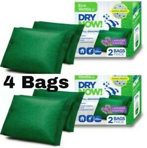 4 x 250g Eco Ventis Dry Now Refill -DEHUMIDIFIER - Absorber Lavender Scent Home