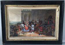 Ancienne gouache aquarelle XIXème scène chateau animée, non signé, tableau