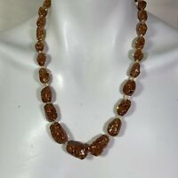Murano Aventurine Goldstone Glass Necklace Abstract Shape Beads Vintage