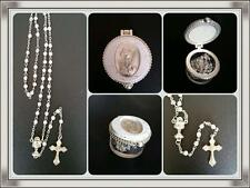 Communion Filigree ROSARY BEADS With Chalice Centrepiece in Box Bomboniere