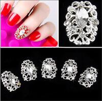 5pcs Bling Glitter Acrylic Crystal Rhinestone Metal Nail Art Tips Decoration 3D