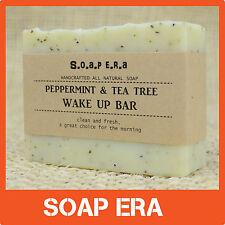 1 x PEPPERMINT & TEA TREE WAKE UP BAR HANDMADE Cold Process Soap