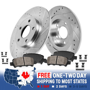 Rear Kit Drill & Slot Brake Rotors & Ceramic Pads For 2013 - 2016 Dodge Dart