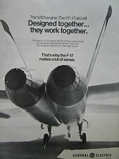 10/1974 PUB GE GENERAL ELECTRIC YJ101 ENGINE NORTHROP YF-17 F-17 ORIGINAL AD