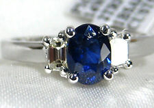 Blue Sapphire Ring 14K White Gold 3 Stone VS Diamond CERTIFIED 1.39ct $3,924