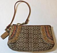 """Coach Monogram khaki brown multi zipper wristlet purse bag 4"""" X 6.5"""" pre owned"""