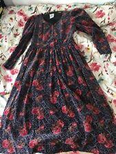 Vintage Laura Ashley Cotton Velvet Tea Dress  UK 16 (EU  42 USA  14)