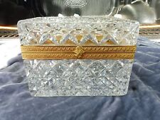 FACETED CRYSTAL CASKET BOX WITH  DORE BRASS FITTINGS