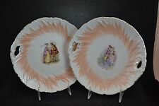 Set of 2 Ironstone Cake Plates Peach Design Courting Couple