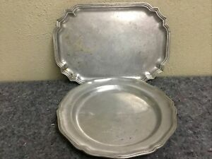 Two Vintage Wilton Pewter Trays-Charger