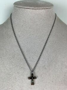 Ayala Bar Red Bead Cross Necklace Silver Tone Chain