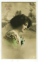 c 1910 Pinup Glamour LOVELY YOUNG LADY tinted photo postcard