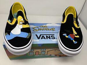 NEW Vans The Simpsons Homer Bart Black Classic Slip On Size Men's 11