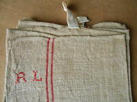 Antique french Hemp Hand Dish TOWEL Red Stripes Monograms  R.L