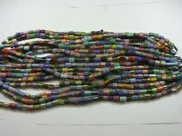 "15 Strands 15"" Medium Sized Multicolor India Handmade Chevron Glass Beads Lot"