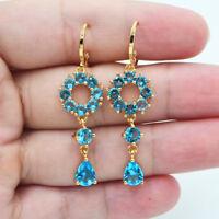 18K Yellow Gold Filled Women Luxury Lake Blue Topaz Zircon Long Drop Earrings