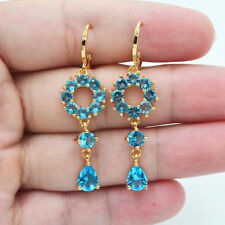 Topaz Round Circle Drop Dangle Earrings 18K Yellow Gold Filled Women Lake Blue