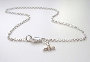 """925 Solid Sterling Silver Anklet, Bee Charm Ankle Bracelet, Ankle Chain 9"""" - 12"""""""